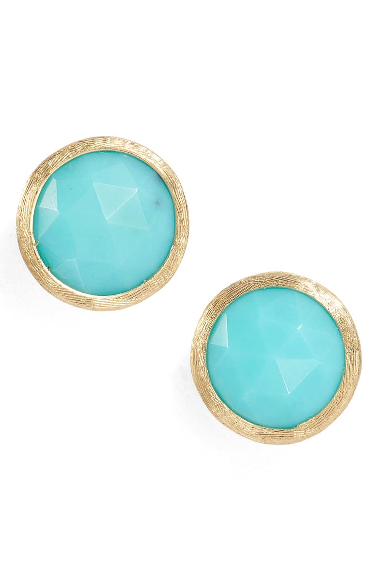 MARCO BICEGO 'Jaipur' Stone Stud Earrings, Main, color, YELLOW GOLD/ TURQUOISE