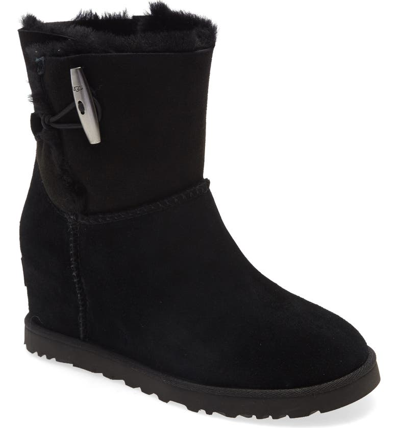 UGG<SUP>®</SUP> Classic Femme Toggle Wedge Boot, Main, color, BLACK SUEDE