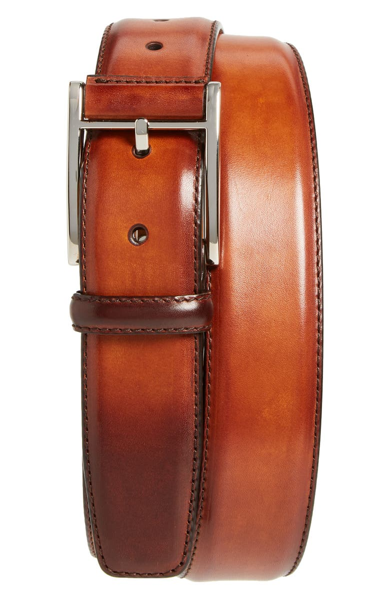 MAGNANNI Catalux Leather Belt, Main, color, COGNAC