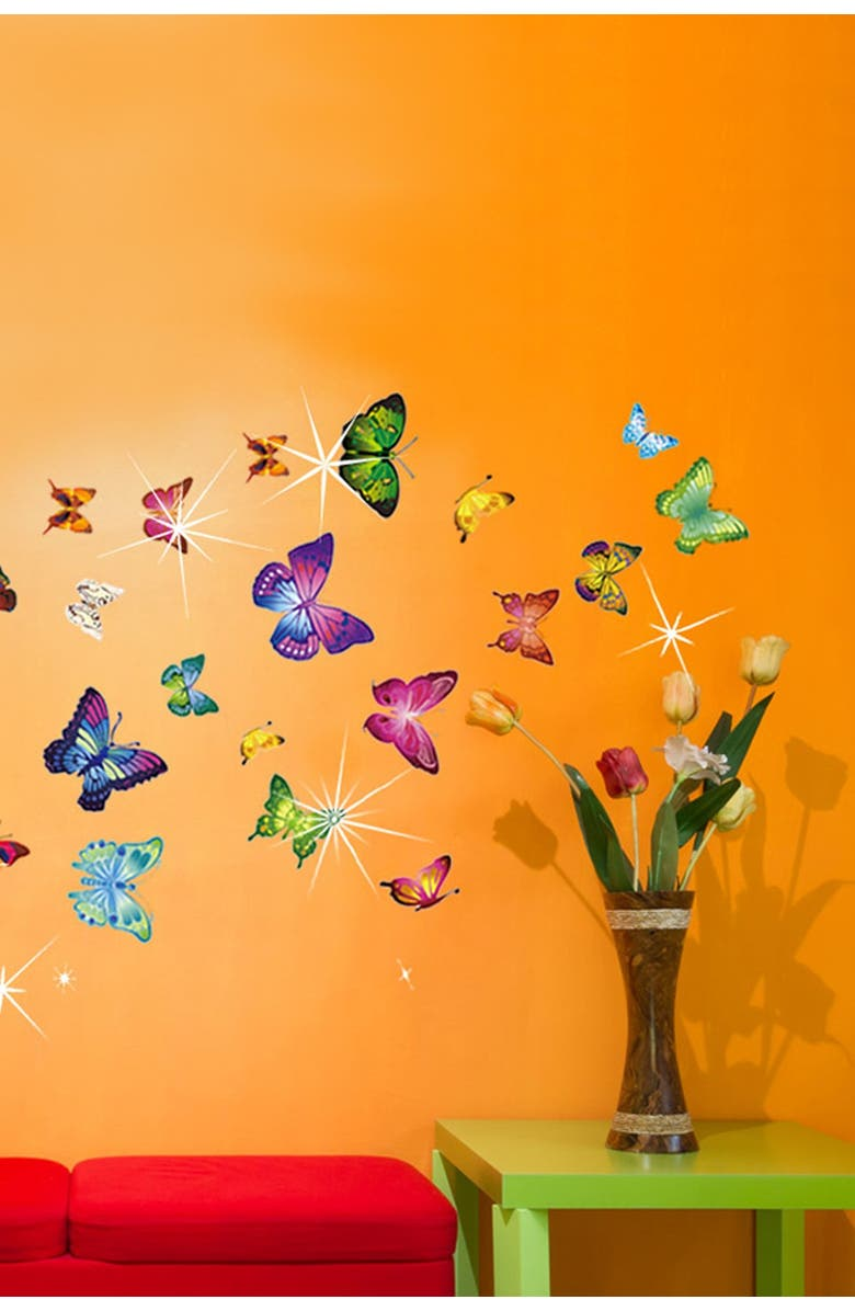 WALPLUS Multi Wall Sticker Decal Colorful Butterflies with Swarovski Crystal Embellishments, Main, color, 000