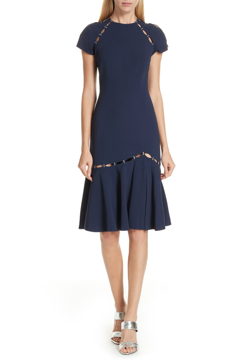 JONATHAN SIMKHAI Stapled Crepe T-Shirt Dress, Main, color, 493