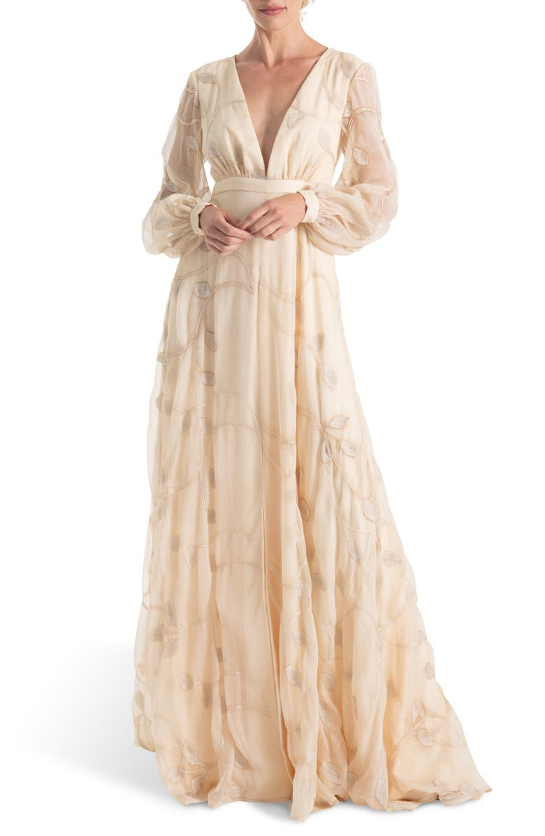 JOANNA AUGUST Gwen Embroidered Long Sleeve Wedding Dress, Main, color, 900
