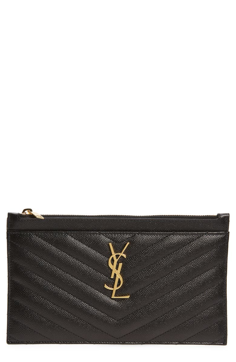SAINT LAURENT Monogramme Quilted Leather Zip Pouch, Main, color, NERO