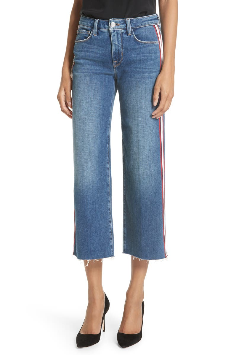 L'AGENCE Danica Side Stripe Crop Wide Leg Jeans, Main, color, 400
