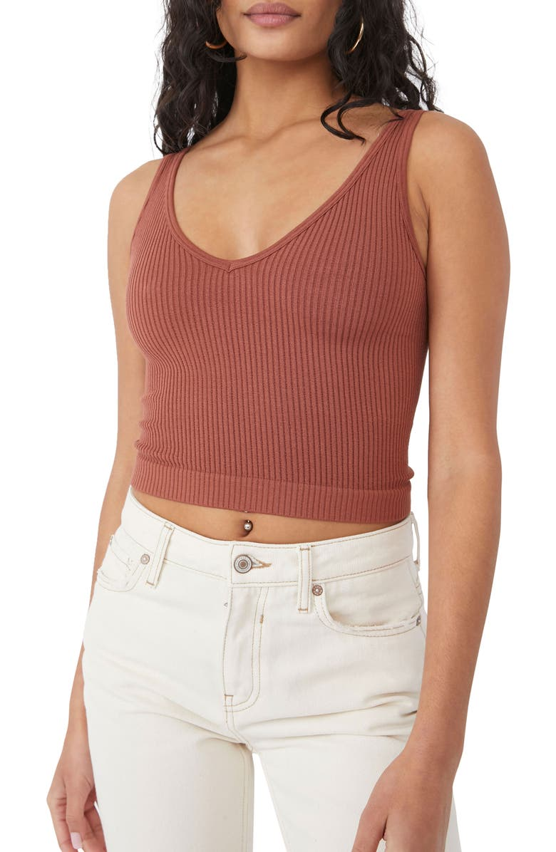 FREE PEOPLE Intimately FP Solid Rib Brami Crop Top, Main, color, CHOCOLATE