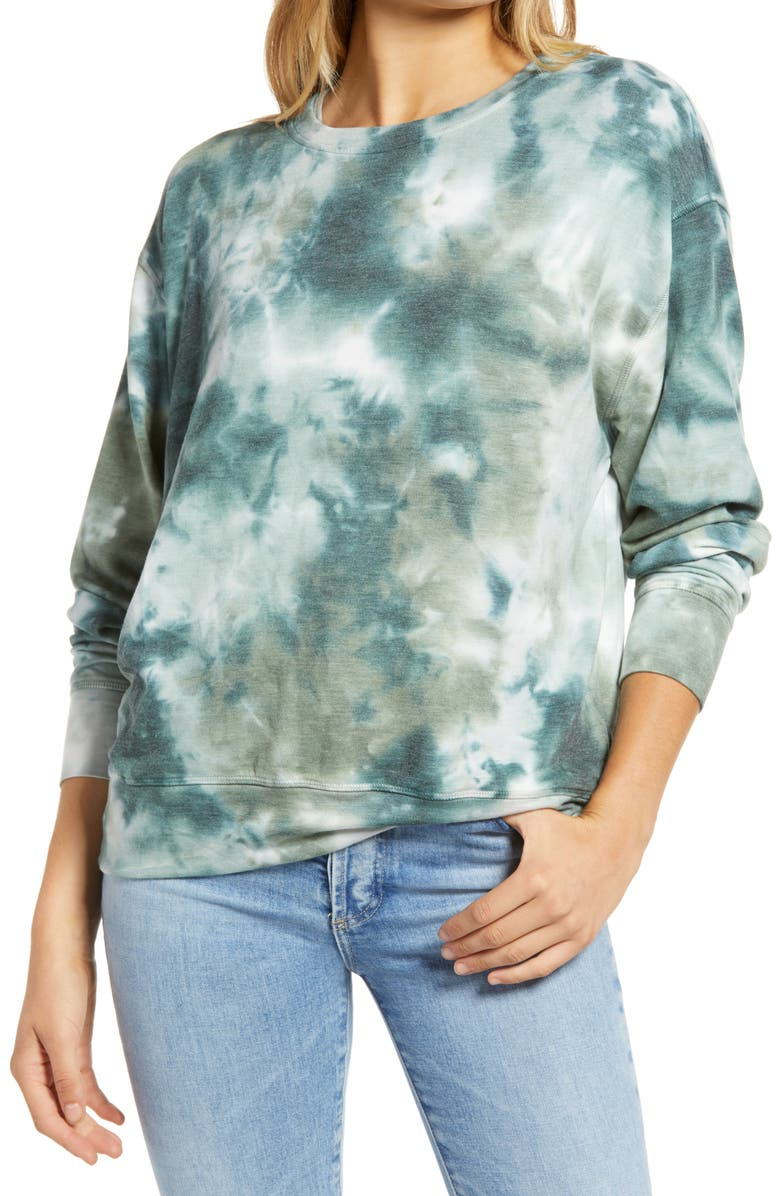 TREASURE & BOND Tie Dye Crewneck Sweatshirt, Main, color, 310