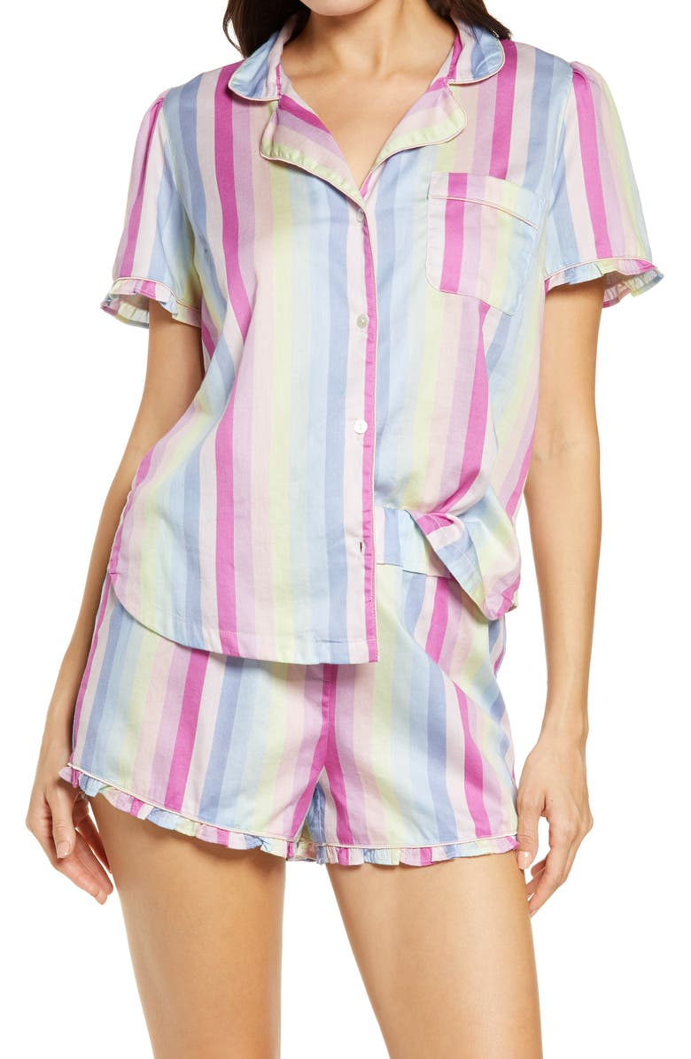 REVERIE Cherie Print Organic Cotton Short Pajamas, Main, color, PASTEL STRIPE PRINT