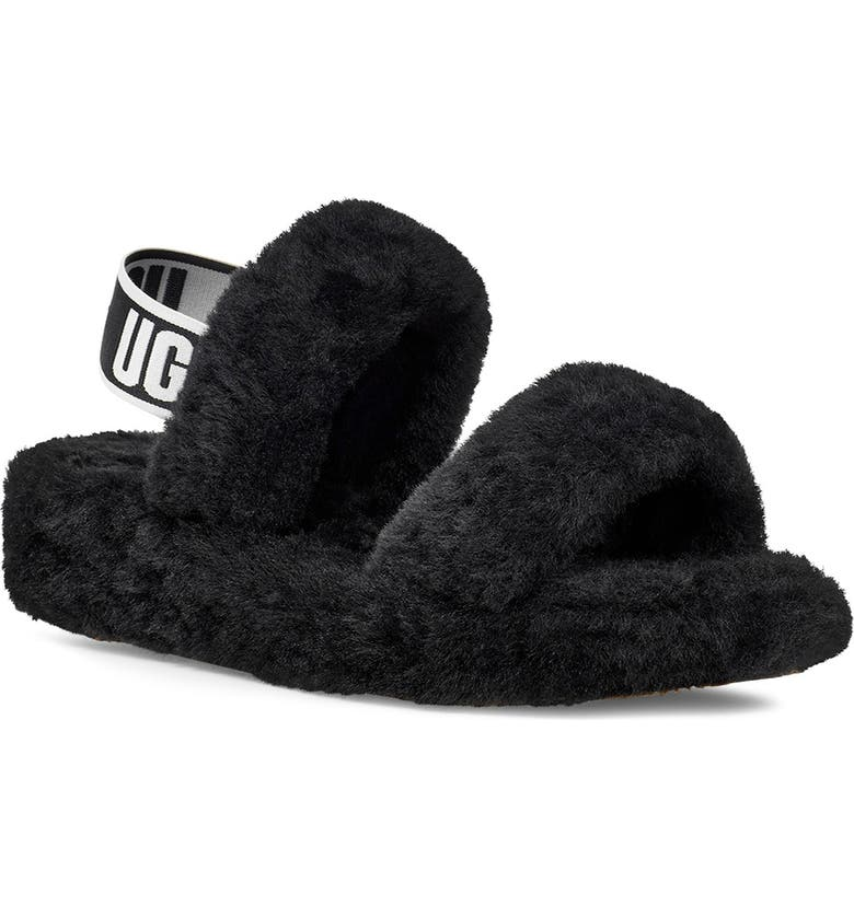 UGG<SUP>®</SUP> Oh Yeah Slingback Slipper, Main, color, BLACK