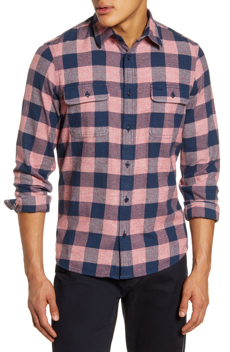 1901 Trucker Slim Fit Buffalo Check Button-Up Flannel Shirt, Main, color, 410