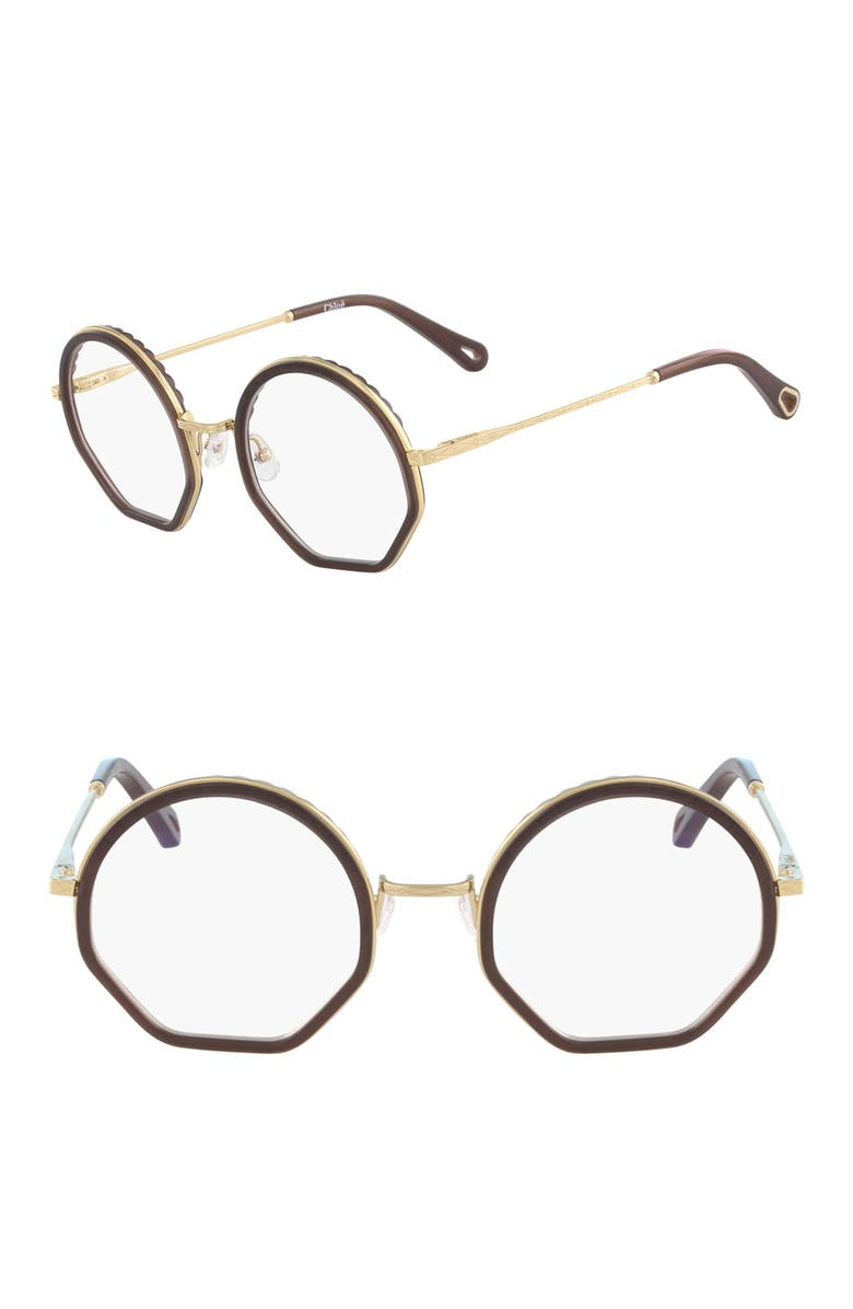 CHLOE 50mm Round Optical Frames, Main, color, BROWN