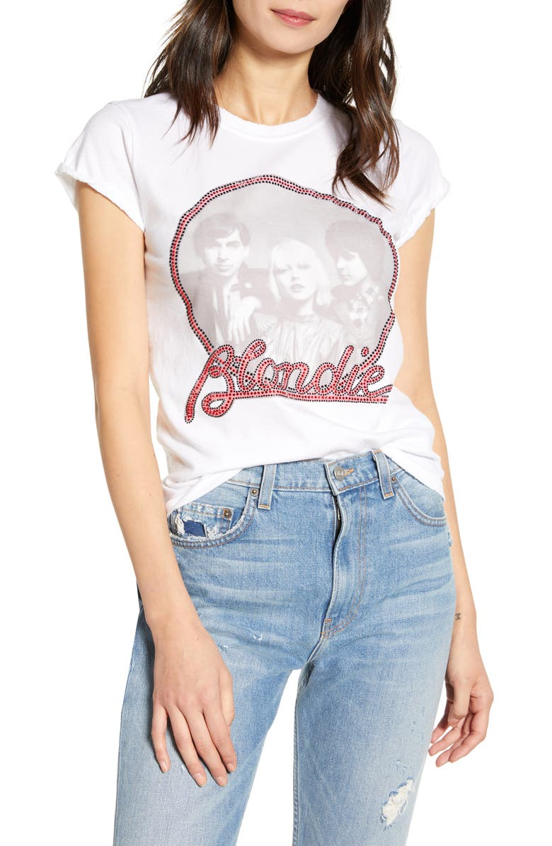 RECYCLED KARMA Crystal Embellished Blondie Hot Fix Tee, Main, color, 100