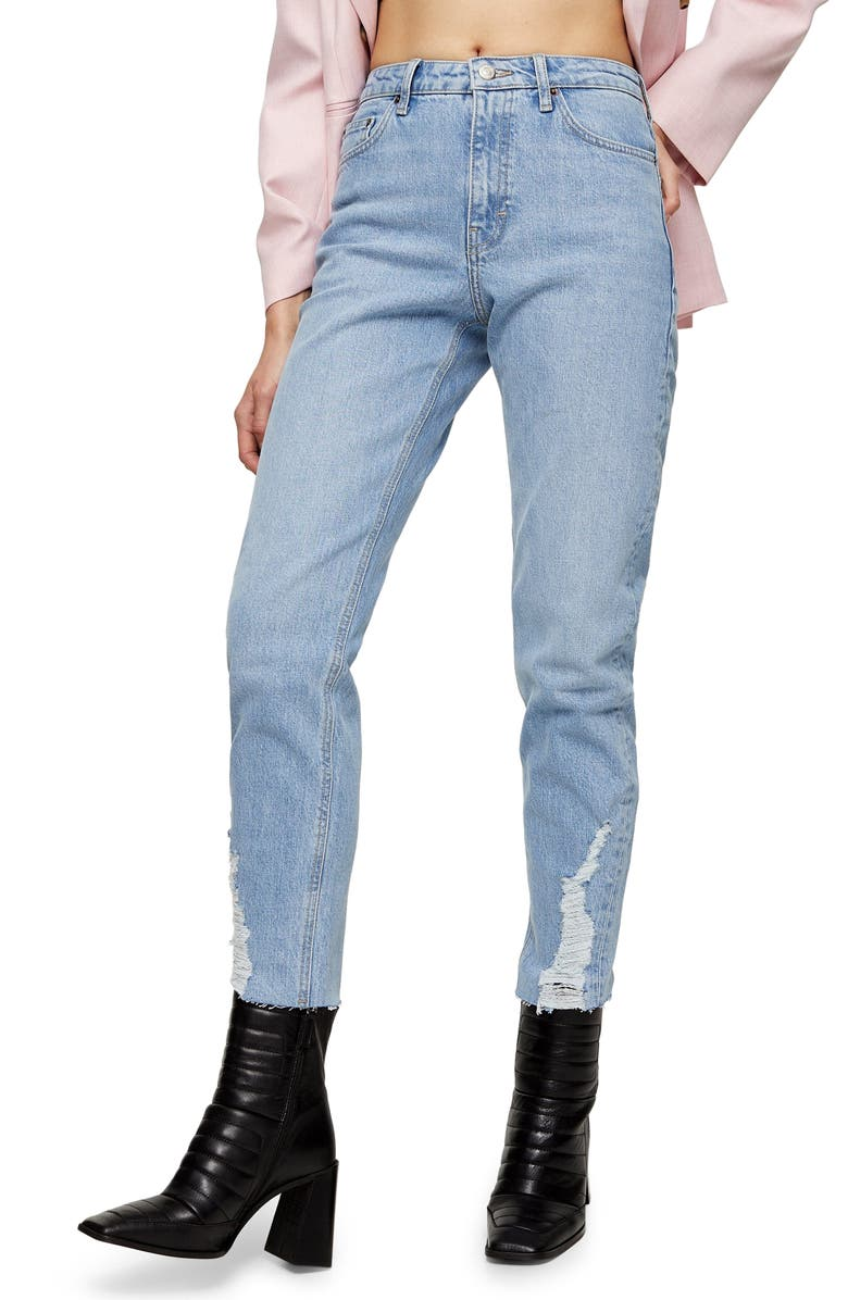 TOPSHOP Dundee Ripped Cuff Straight Leg Jeans, Main, color, 400