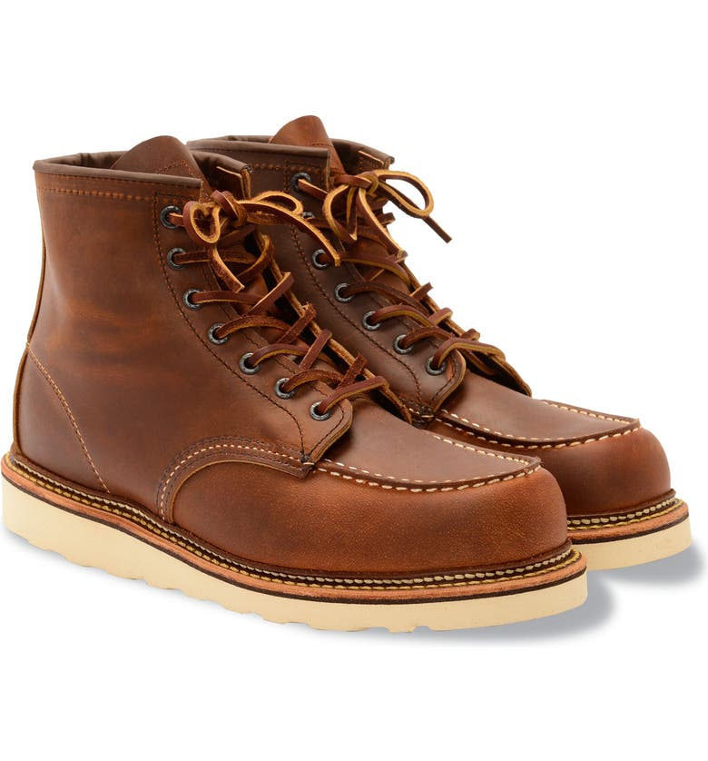 RED WING 6 Inch Moc Toe Boot, Main, color, COPPER BROWN- 1907