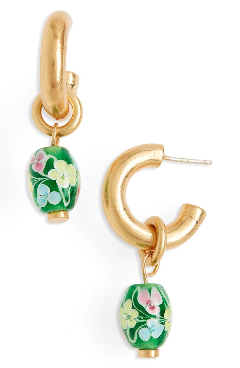 MADEWELL Floral Lampwork Bead Chunky Small Hoop Earrings, Main, color, VINTAGE GOLD