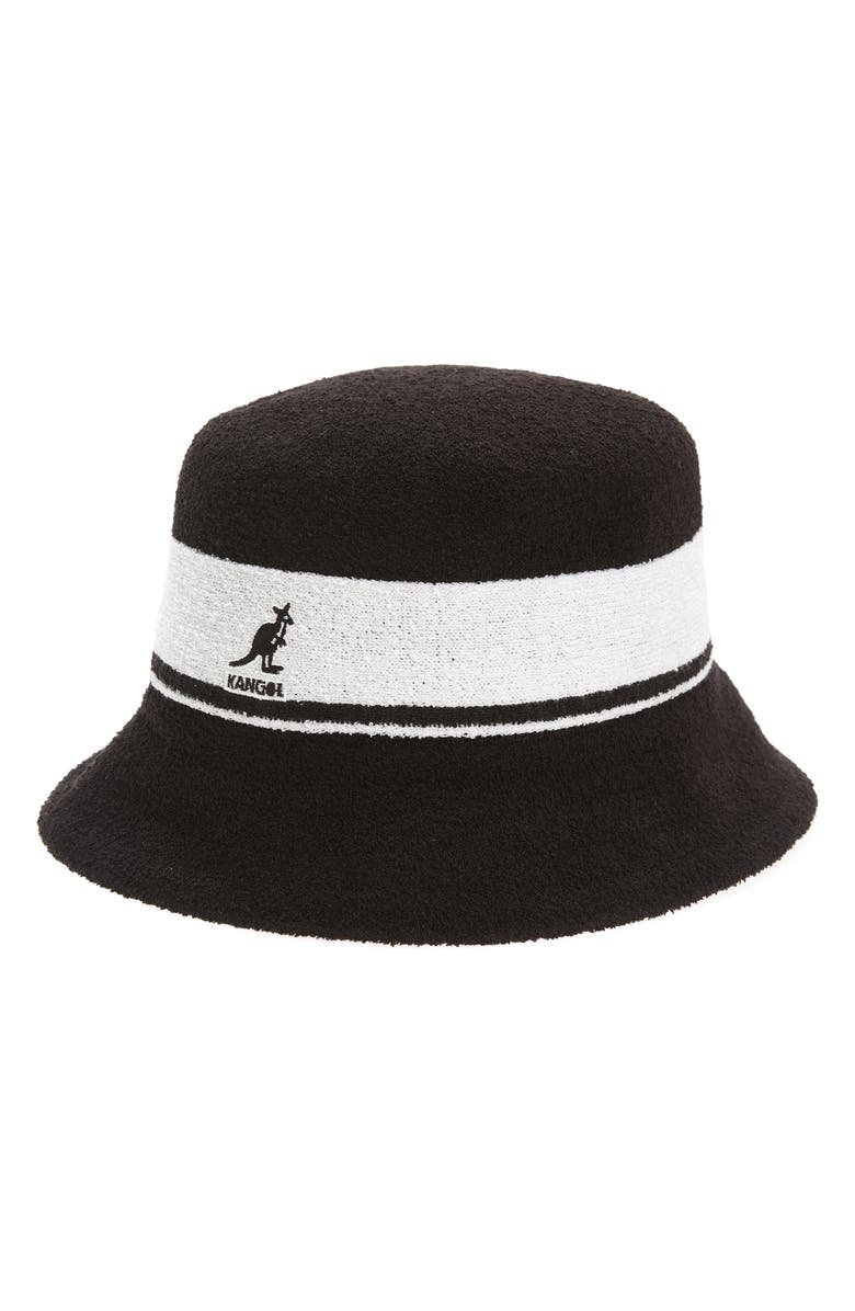 KANGOL Bermuda Stripe Bucket Hat, Main, color, BLACK