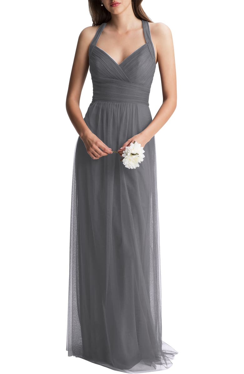 #LEVKOFF Crisscross Strap Tulle A-Line Gown, Main, color, PEWTER