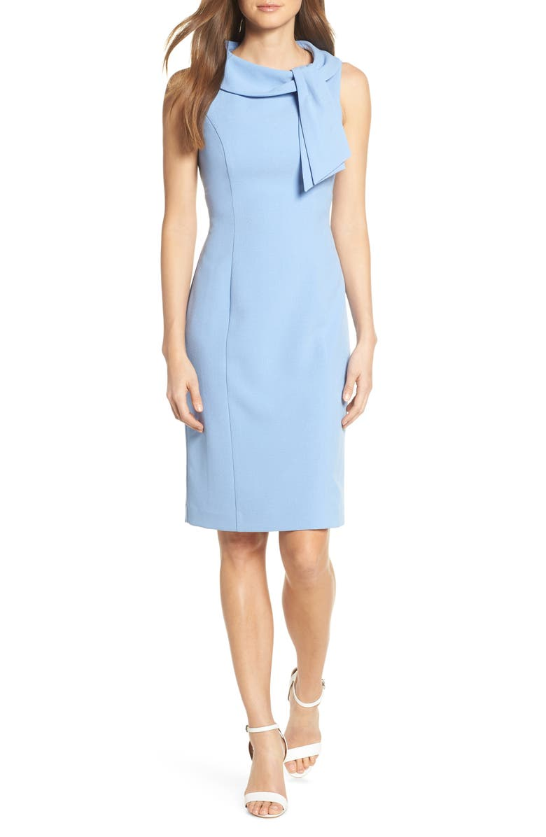 HARPER ROSE Drape Tie Neck Sheath Dress, Main, color, 421