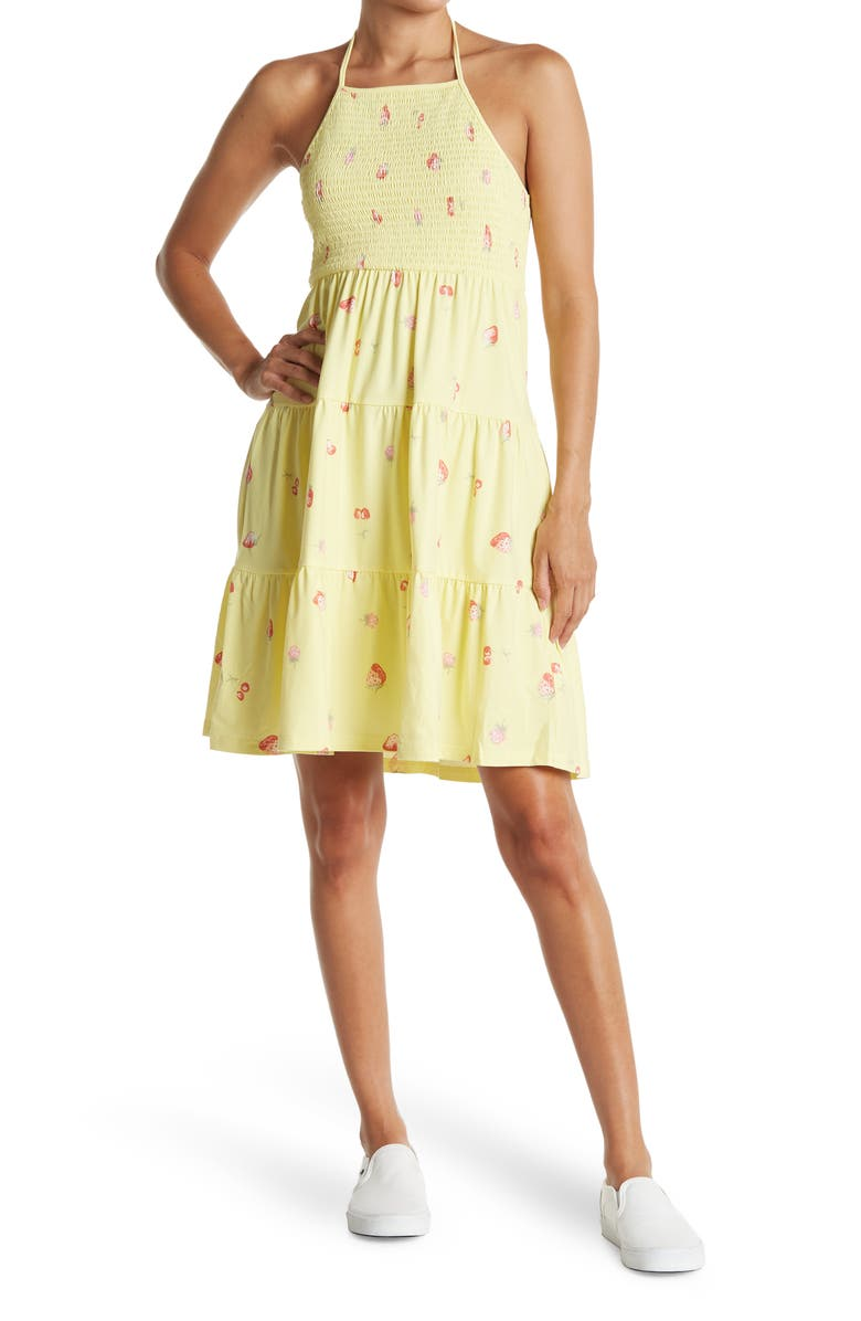 ABOUND Floral Print Tiered Knit Halter Dress, Main, color, YELLOW LEMONADE TOSSED BERRIES