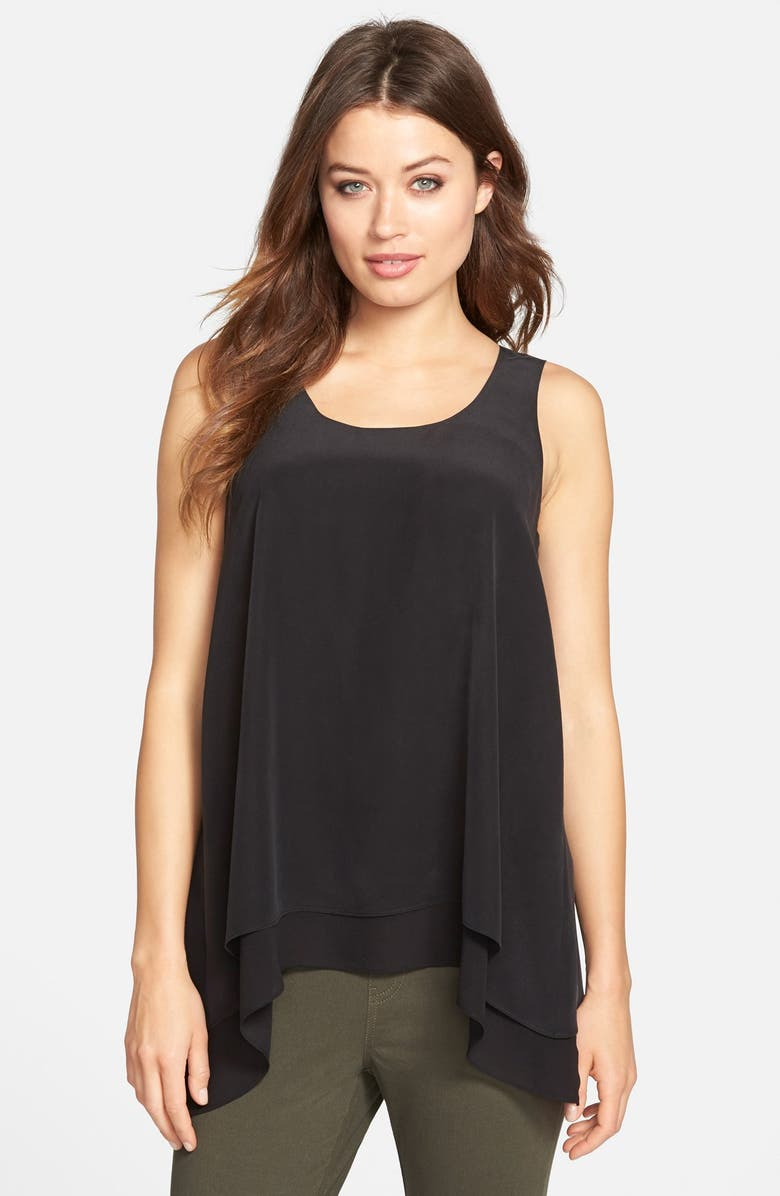 EILEEN FISHER Scoop Neck Silk A-Line Tank, Main, color, 001