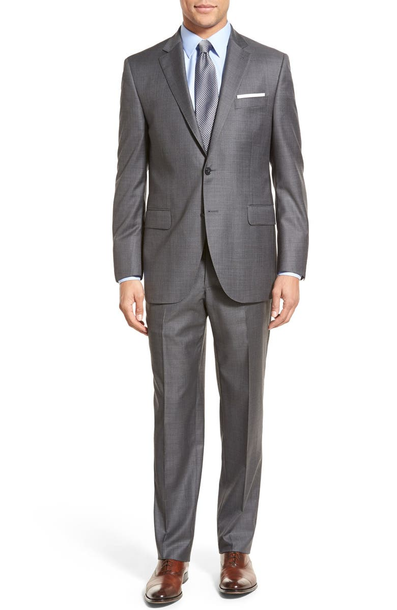 PETER MILLAR Classic Fit Solid Wool Suit, Main, color, Grey