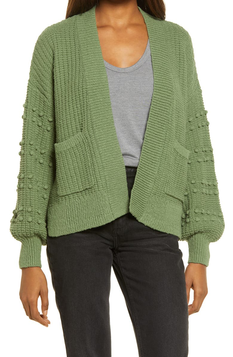 MADEWELL Bobble Cardigan Sweater, Main, color, FADED PALM