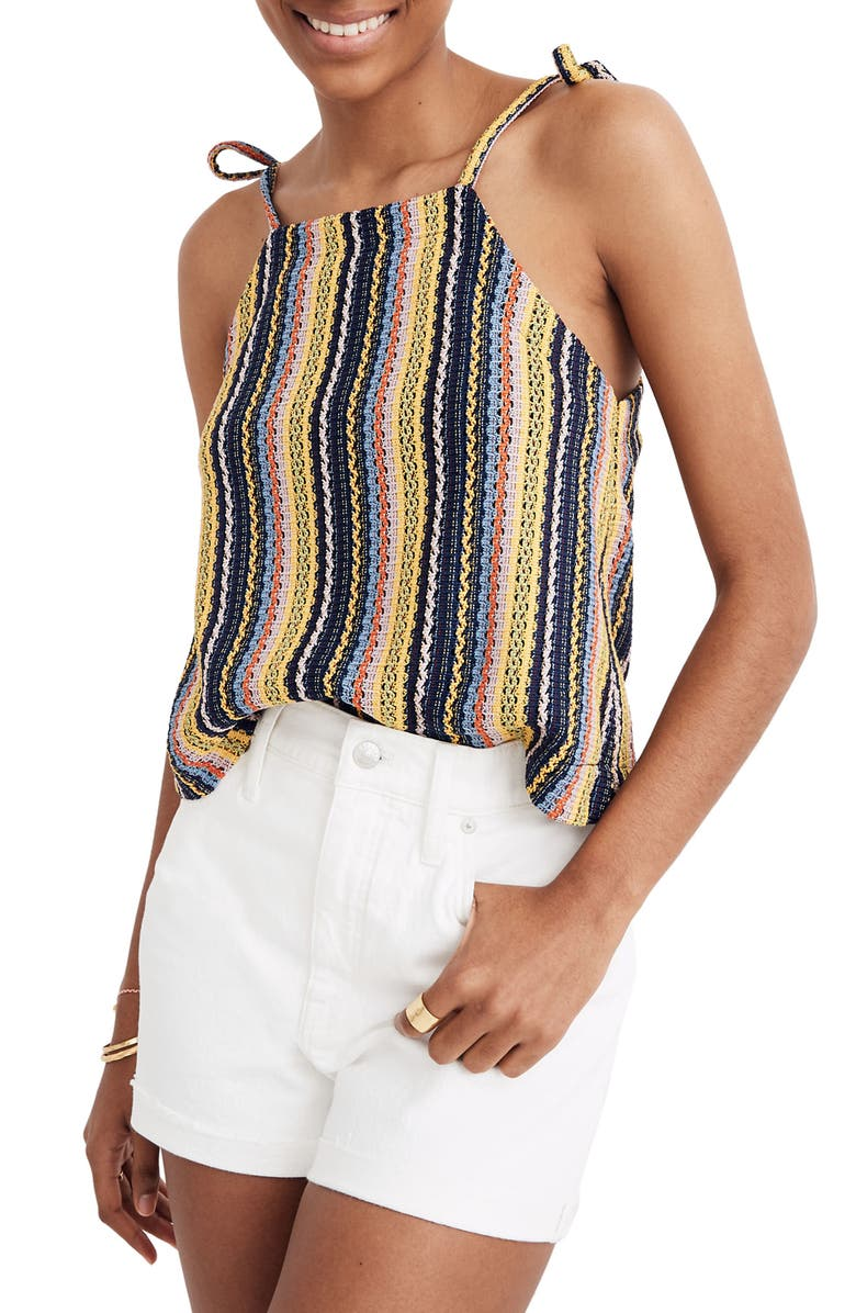 MADEWELL Texture & Thread Stripe Tie Shoulder Tank Top, Main, color, 400