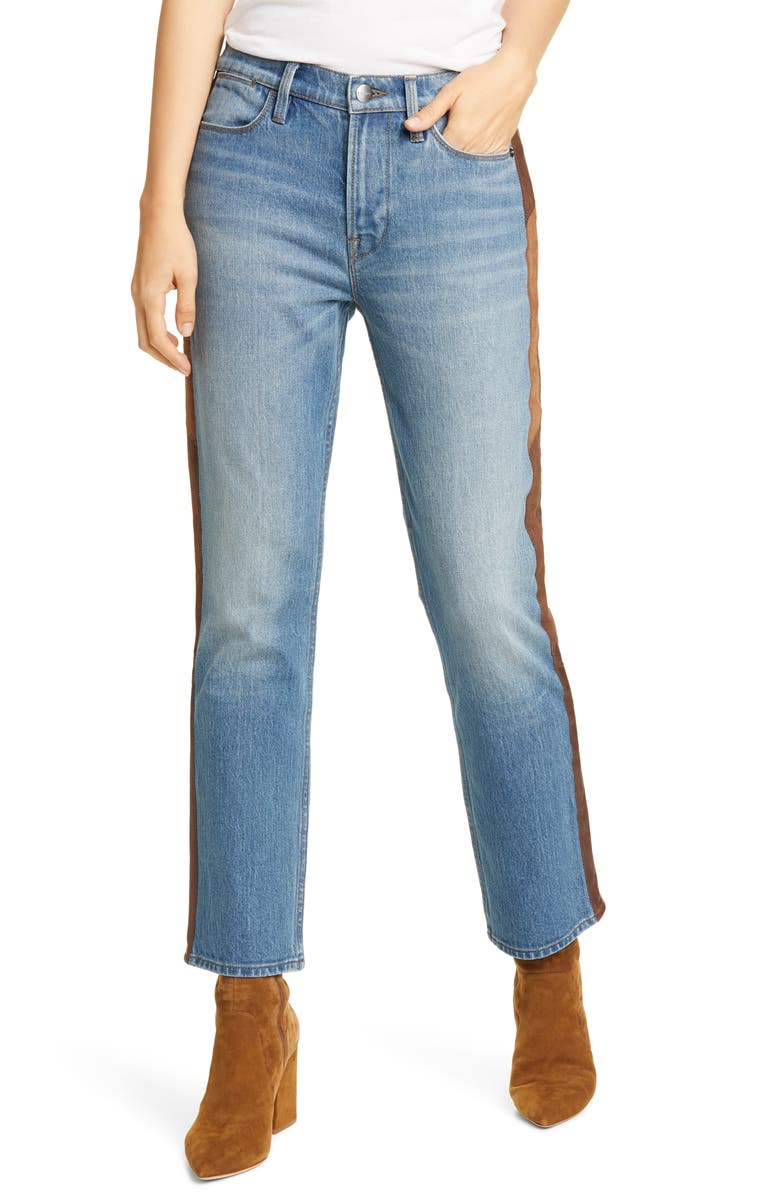 FRAME Le High Straight Side Panel Jeans, Main, color, 001