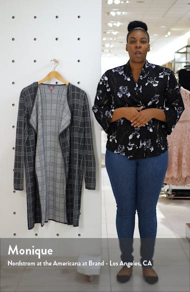 Plaid Open Front Combed Cotton Cardigan, sales video thumbnail