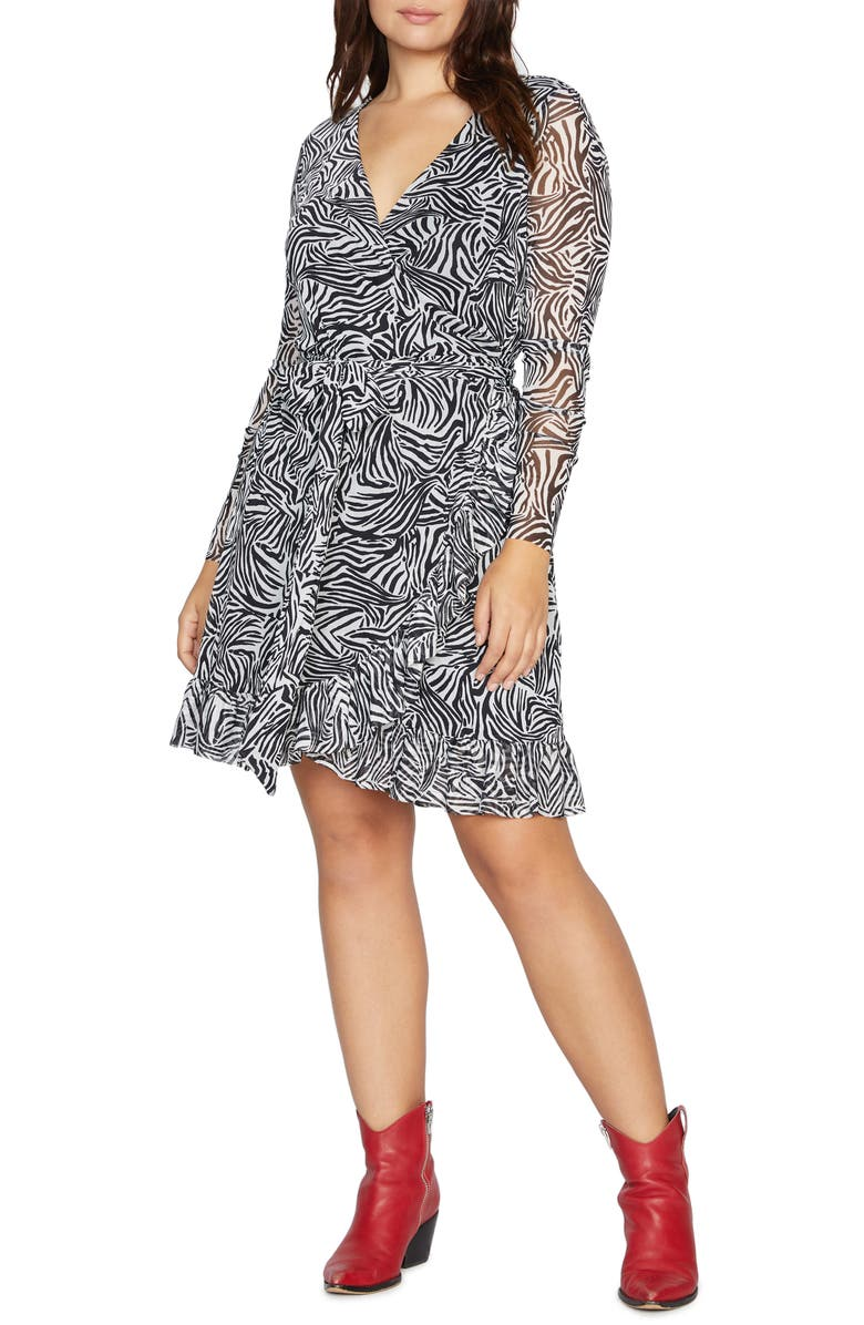 SANCTUARY Emma Print Long Sleeve Wrap Dress, Main, color, 002