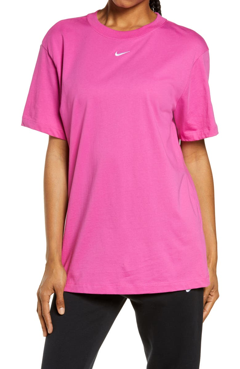 NIKE Essential Embroidered Swoosh Cotton T-Shirt, Main, color, ACTIVE FUCHSIA/ WHITE
