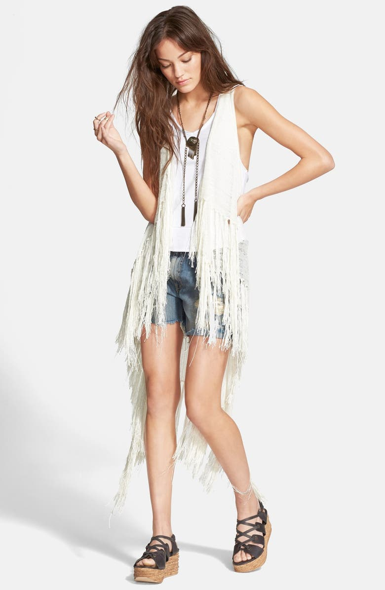 FREE PEOPLE 'Smokey' Fringe Sweater Vest, Main, color, 103