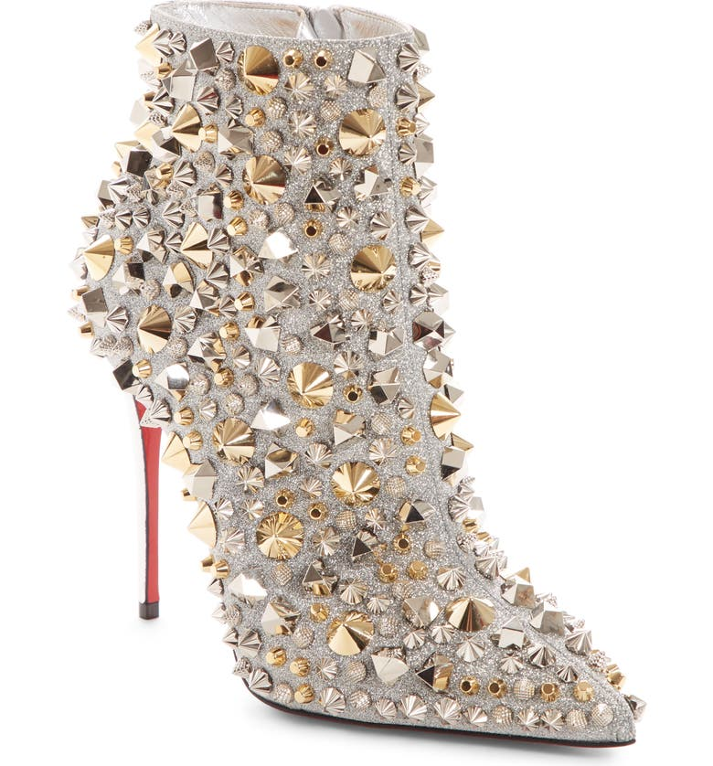 CHRISTIAN LOUBOUTIN So Kate Studded Glitter Bootie, Main, color, 040