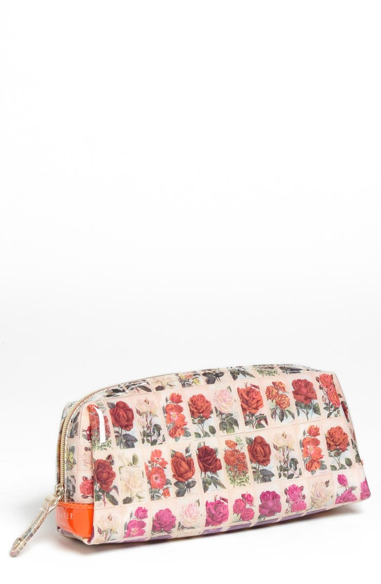 TED BAKER LONDON 'Roses in a Row - Small' Cosmetics Case, Main, color, Orange