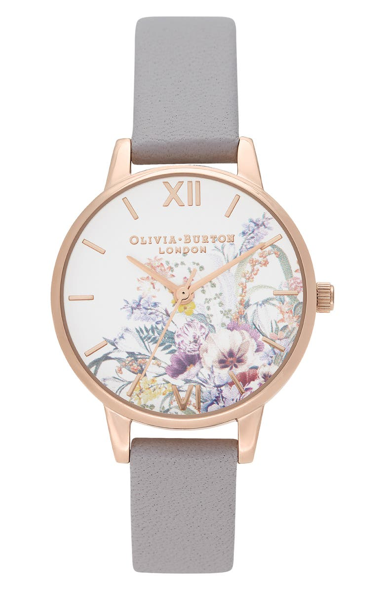 OLIVIA BURTON Enchanted Garden Leather Strap Watch, 30mm, Main, color, LILAC/ WHITE FLORAL/ ROSE GOLD