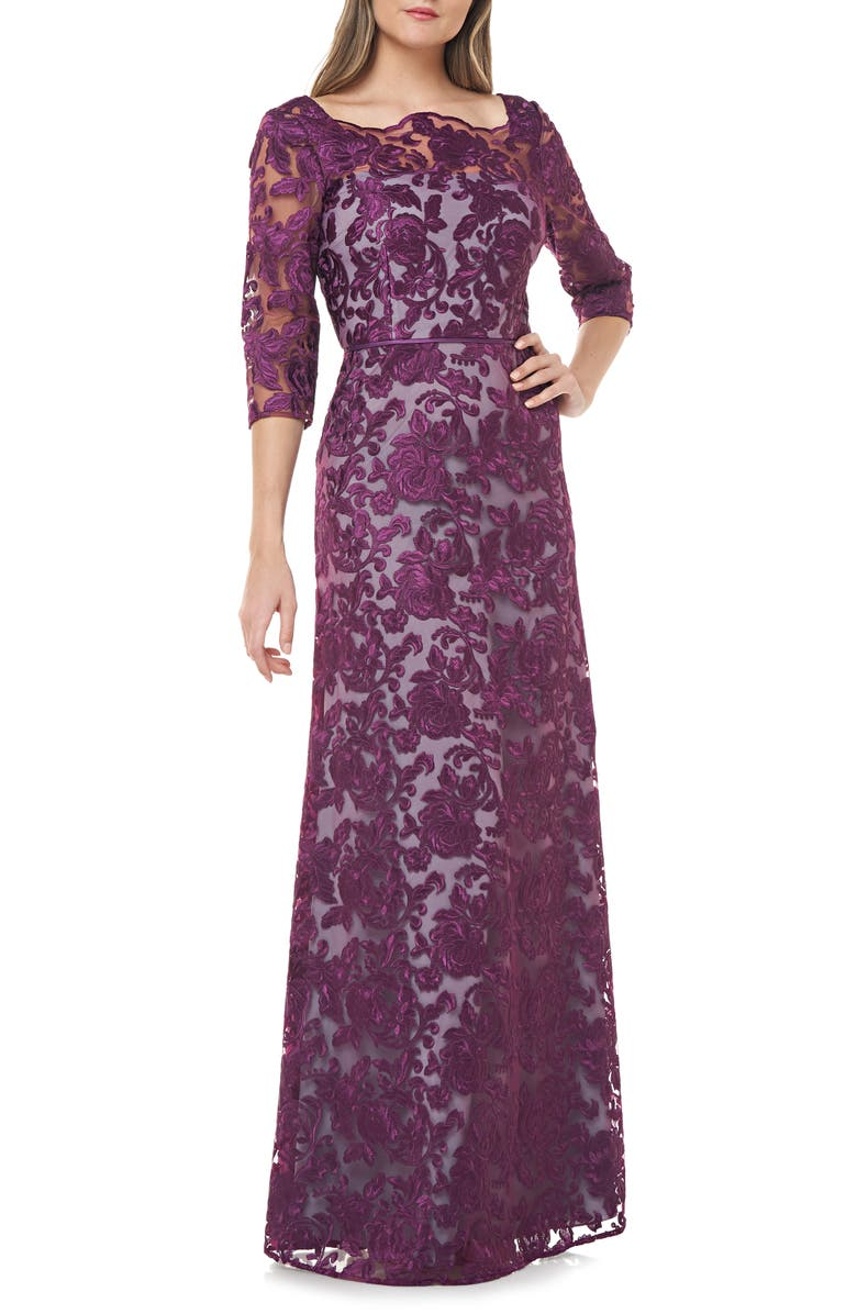 JS COLLECTIONS Scallop Neck Embroidered Lace Gown, Main, color, 518