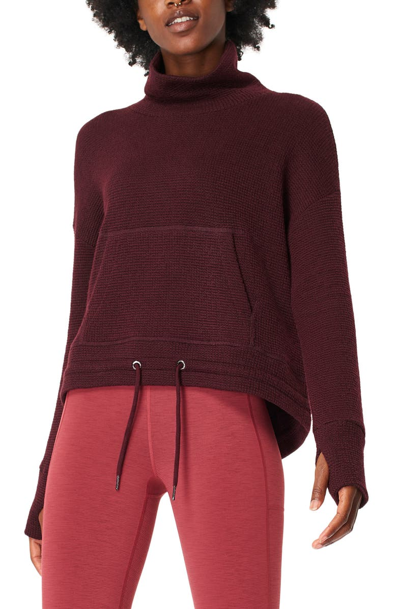 SWEATY BETTY Bouclé Funnel Neck Sweatshirt, Main, color, BLACK CHERRY PURPLE