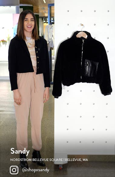 Faux Shearling with Faux Leather Trim Bomber Jacket, sales video thumbnail