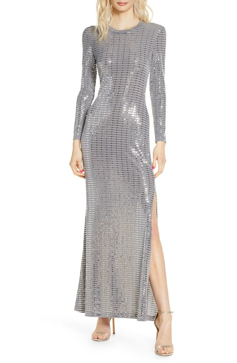 MORGAN & CO. Long Sleeve Sequin Knit Gown, Main, color, 044