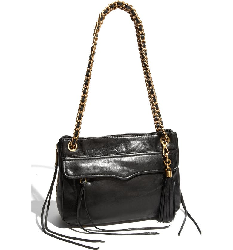 REBECCA MINKOFF 'Swing' Double Chain Leather Shoulder Bag, Main, color, 001