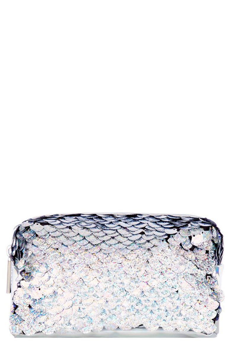 SKINNYDIP Skinny Dip Sequin Makeup Bag, Main, color, NO COLOR