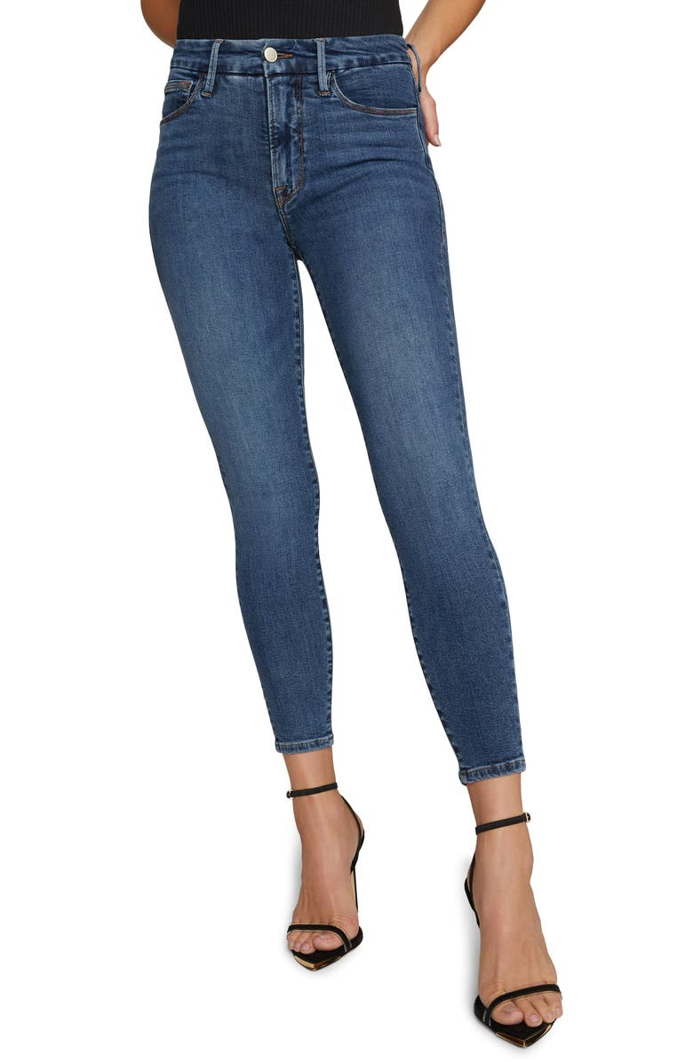 GOOD AMERICAN Extreme V High Waist Ankle Skinny Jeans, Main, color, BLUE615