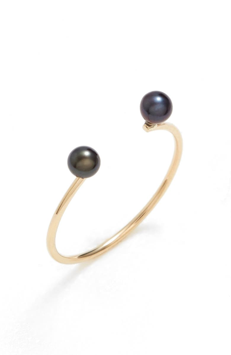 POPPY FINCH Skinny Pearl Open Ring, Main, color, YELLOW GOLD/ BLACK PEARL