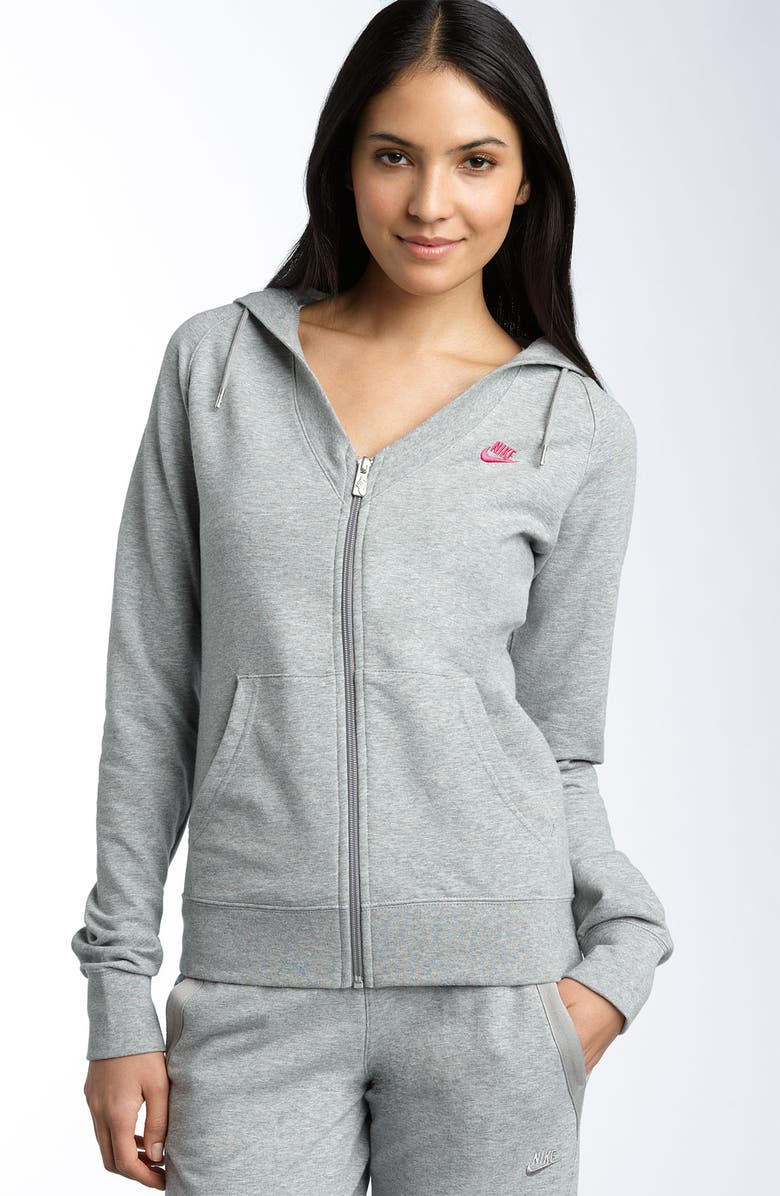 NIKE French Terry Hoody, Main, color, DK GREY HEATHER/VIVID PINK