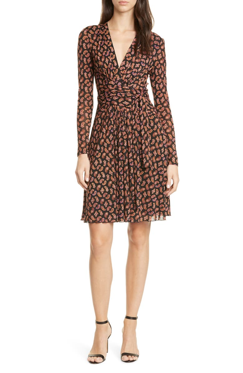 DVF Brenda Long Sleeve Wrap Dress, Main, color, 001