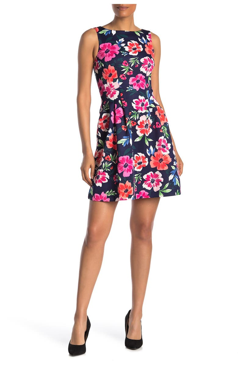 VINCE CAMUTO Floral Sleeveless Scuba Fit & Flare Dress, Main, color, NAVY MULTI