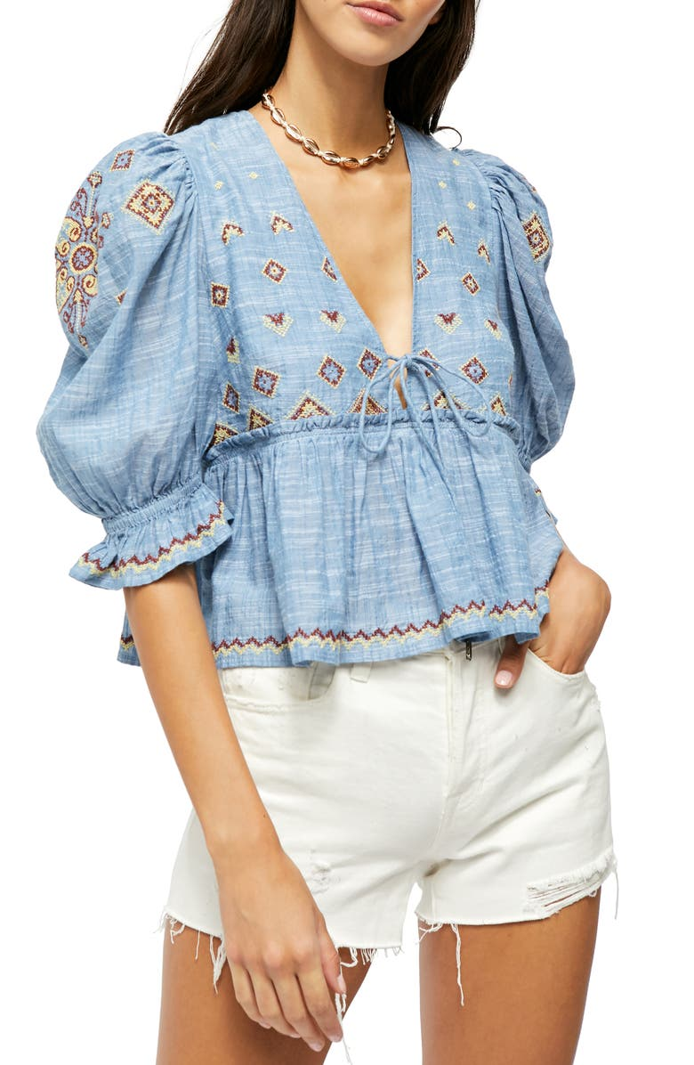 FREE PEOPLE Tallulah Embroidered Blouse, Main, color, 400