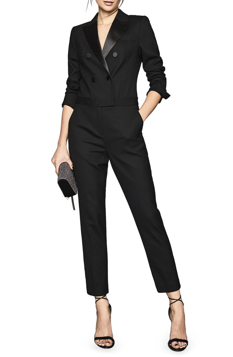 REISS Mariana Long Sleeve Tuxedo Jumpsuit, Main, color, 001