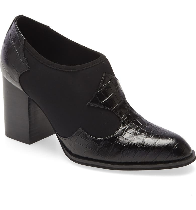 INTENTIONALLY BLANK Auntie Croc Embossed Bootie, Main, color, BLACK LEATHER