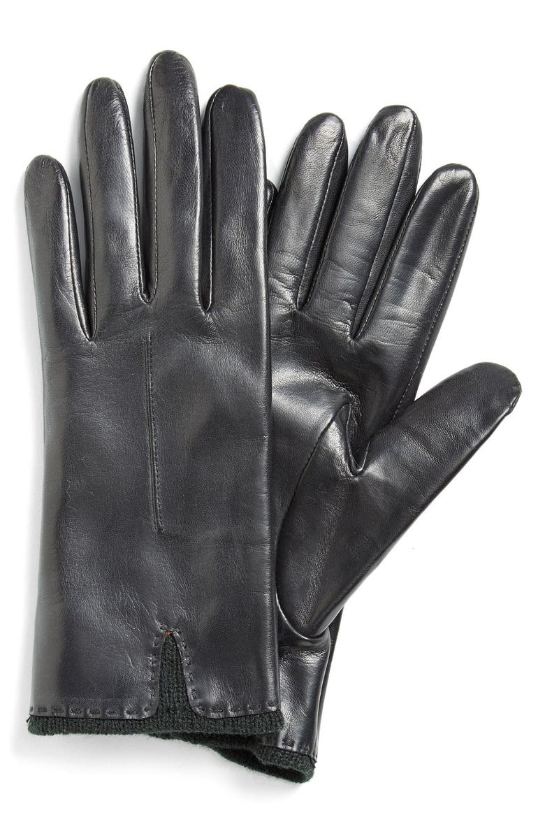 FOWNES BROTHERS Knit Cuff Leather Gloves, Main, color, 001