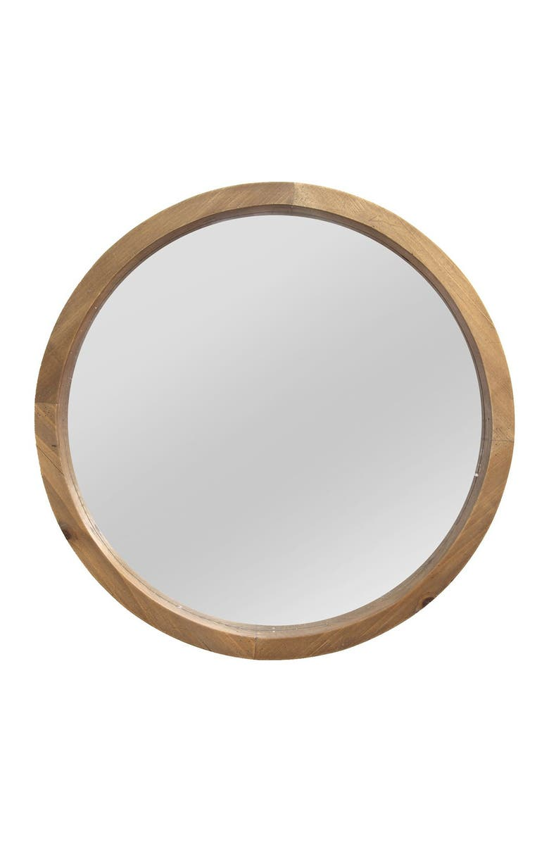STRATTON HOME DECOR Maddie Wood Mirror, Main, color, LIGHT NATURAL WOOD